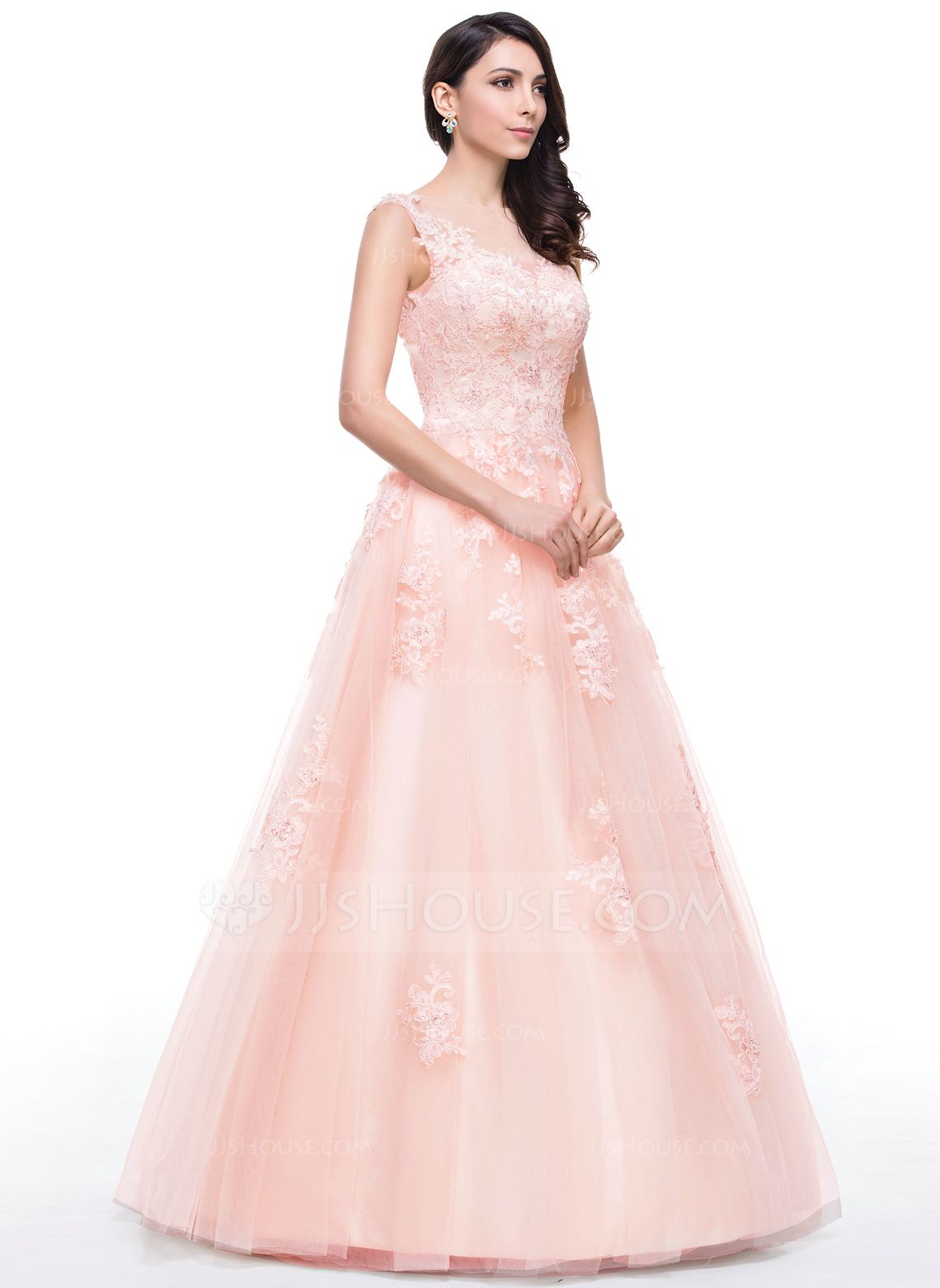 Ball-Gown Scoop Neck Floor-Length Tulle Prom Dress With Lace Beading ...