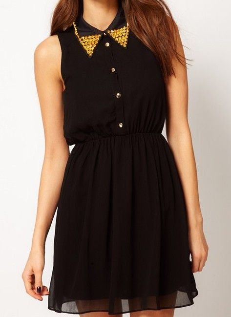 422f0218948 Black Sleeveless Beading Embellished Dress