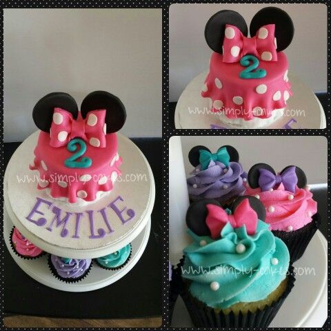 Minnie Mouse Cake With Cupcakes In Pink Purple And Teal