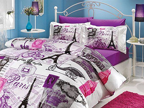 paris eiffel tower vintage purple theme themed full double queen size quilt duvet cover set bedding made in turkey