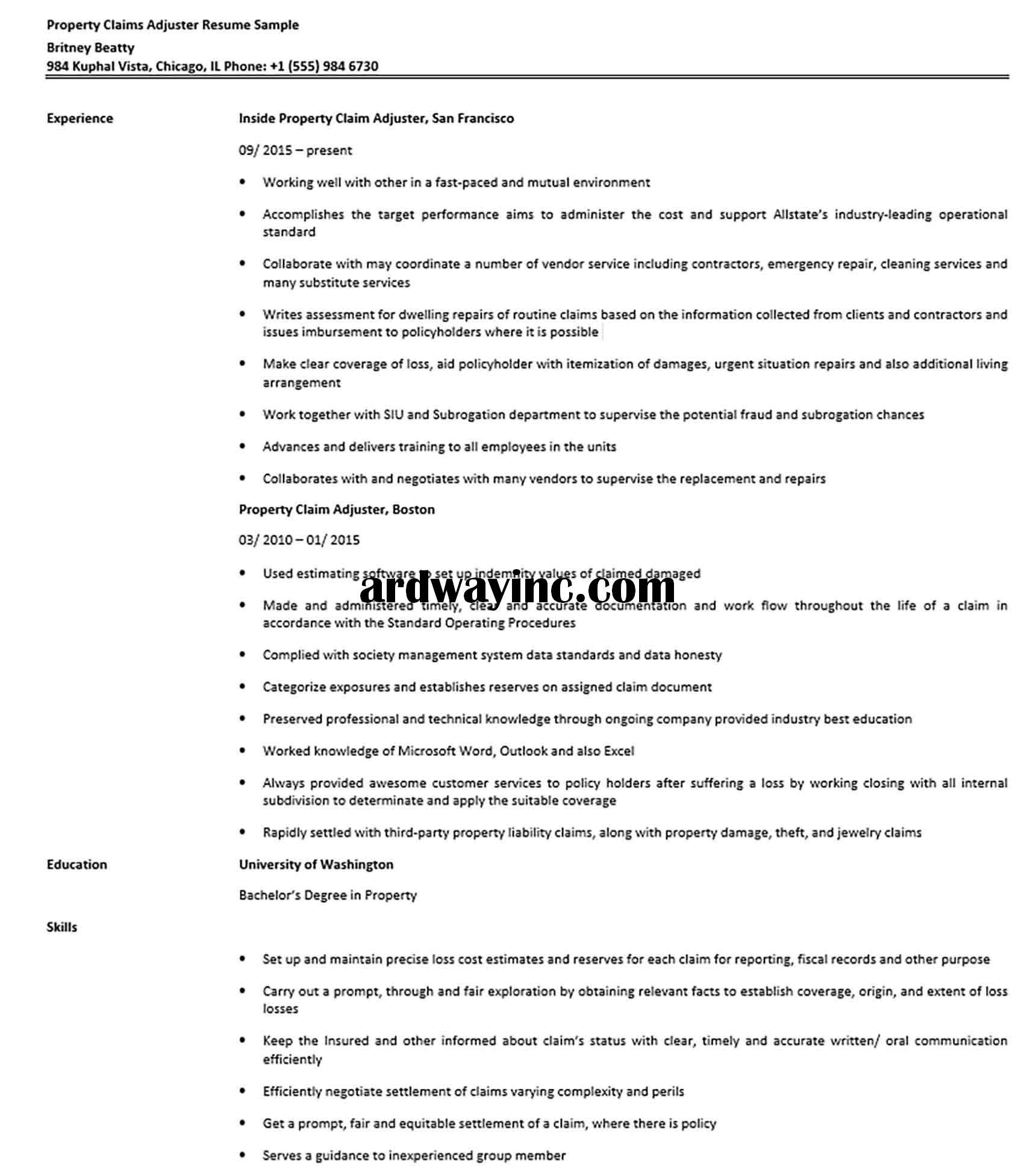 Property Claims Adjuster Resume Sample In 2020 Resume Business Template Interpersonal Skills