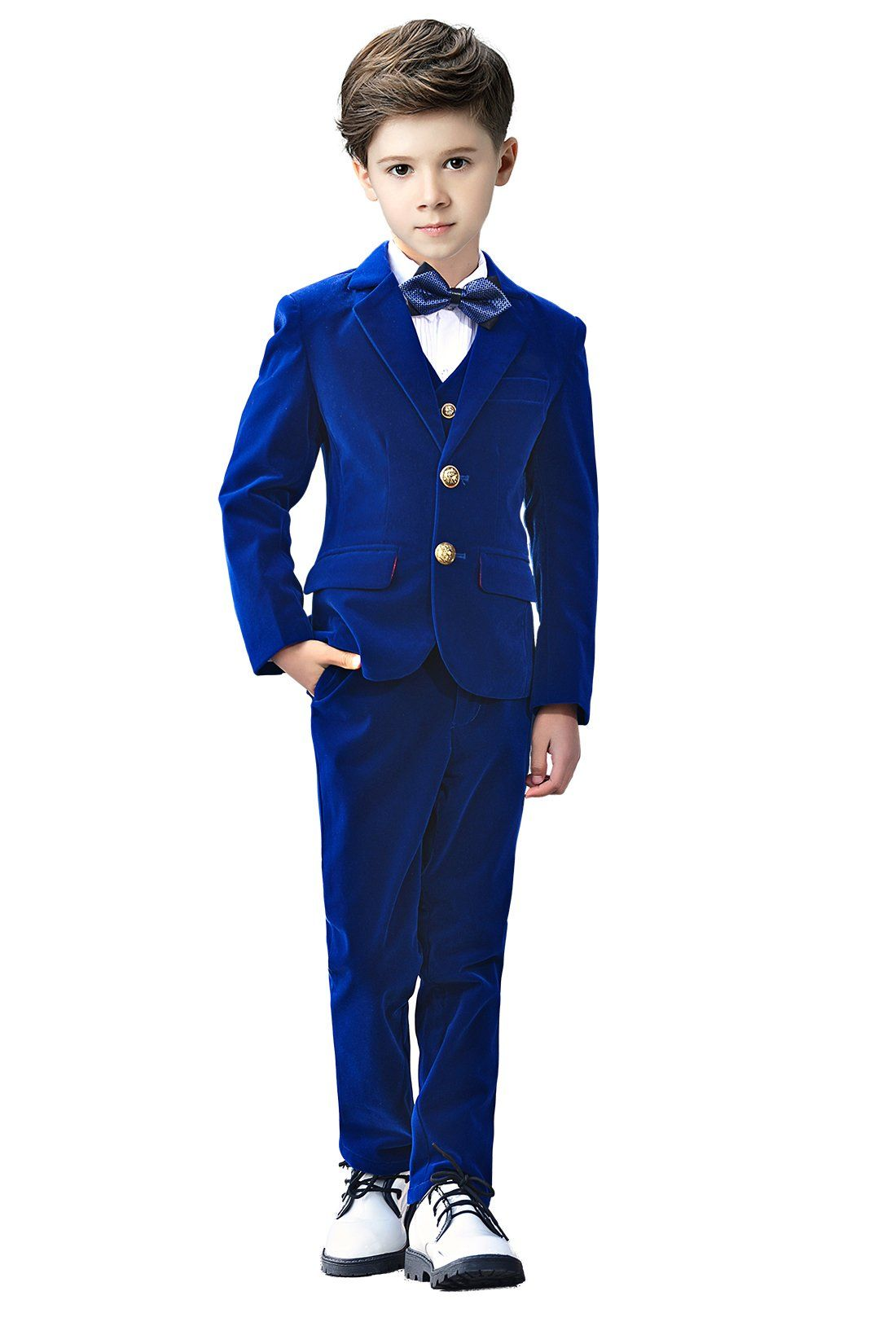 3767a0c29 Yanlu 5 Piece Boys Suits Set Kids Formal Velvet Suit With Blazer Vest Pants  Shirt And