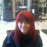 bleached the whole head an put black an crazy red