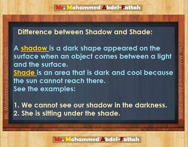 Shadow vs.shade - Repinned by Chesapeake College Adult Ed. Free classes on the Eastern Shore of MD to help you earn your GED - H.S. Diploma or Learn English (ESL). www.Chesapeake.edu