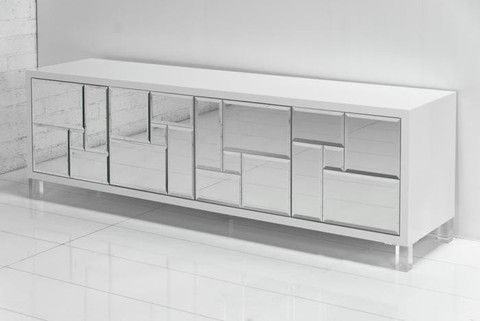 Mondrian Low Boy Mirrored Credenza Mirrored Credenza Iconic Furniture Design Glamorous Living Room