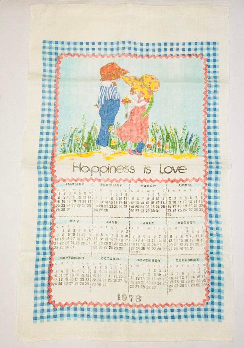 Vintage Happiness Is Love 1978 Calendar Linen Kitchen Etsy