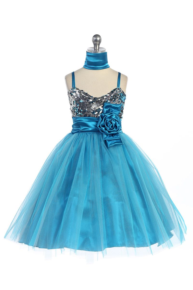 Turquoise Sparkly Sequined Sweetheart Tulle Overlayed Girl Dress ...