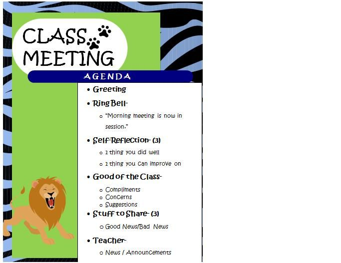 Morning Meeting Agenda  School Stuff    Morning