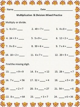 Printables Mixed Division Worksheets worksheets and division on pinterest thanksgiving themed worksheet multiplication facts quotients up to 12 mixed multiplicationdivision problems find the missing digit problems