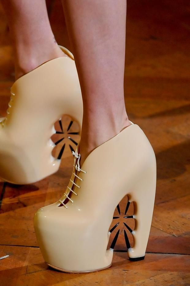 These shoes look particularly fierce.     At Iris Van Herpen Haute Couture