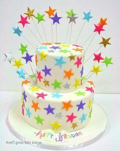 Birthday Cakes NYC Rainbow Stars Custom Cakes cakes Pinterest