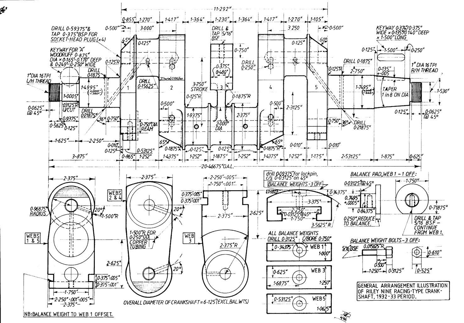 hight resolution of 1932 33 crankshaft for racing riley nine engine