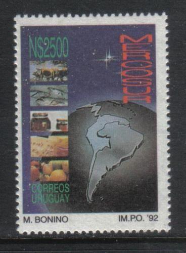 URUGUAY-1992-SPACE-STARS-Mercosur-VEGETABLES-Cattle-FISH-Cheese-HONEY