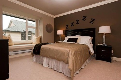 Traditional Bedroom Dark Brown Paint Color Accent Wall Design Ideas