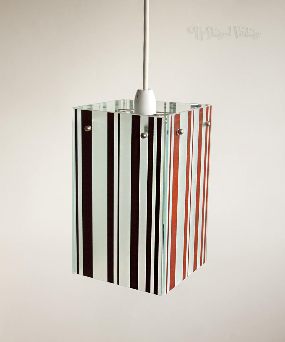Vintage Retro Striped Mirrored Glass Box Pendant Ceiling Light