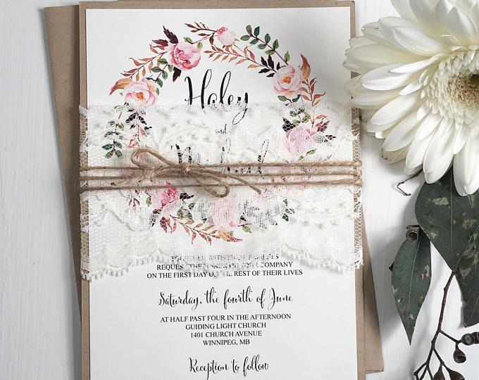 Blumen Hochzeit Einladung, Spitze Hochzeitseinladung, Vintage Hochzeit  Einladung, Rustikale Einladung, Bausatz