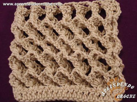 Punto waffle tejido a crochet (tejido abierto y en circular ...