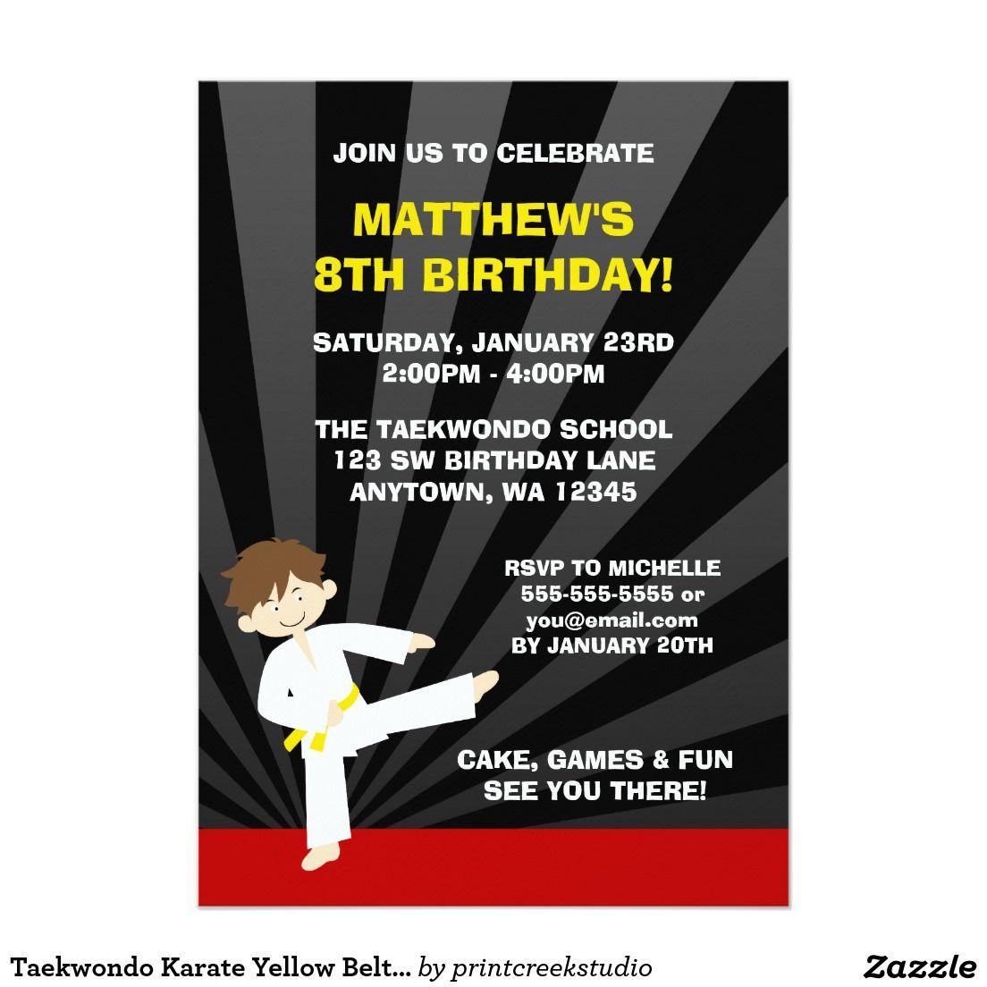 Taekwondo Karate Yellow Belt Birthday Invitations | BOYS\' BIRTHDAY ...