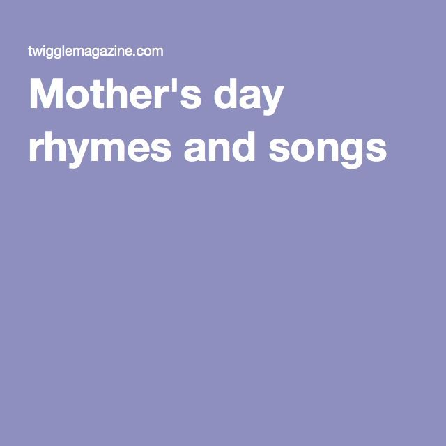 Free Mother's Day Songs and Rhymes for Circle Time | Circles ...