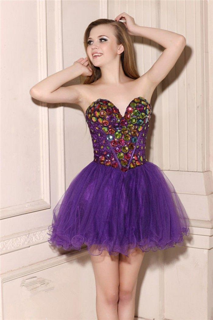 Lovely Strapless Sweetheart Short Mini Purple Tulle Beaded Tutu ...
