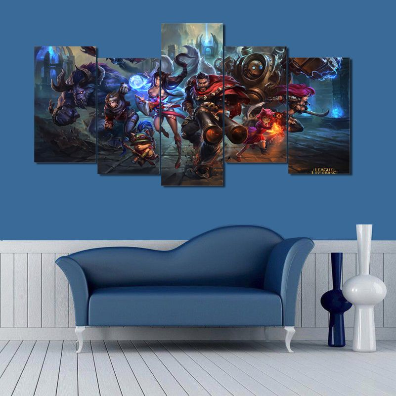 5 Pieces League Of Legends Game Characters Modern Home Wall Decor Canvas Picture Art Hd Print Painting On Ca Canvas Pictures Canvas Wall Art Living Room Canvas