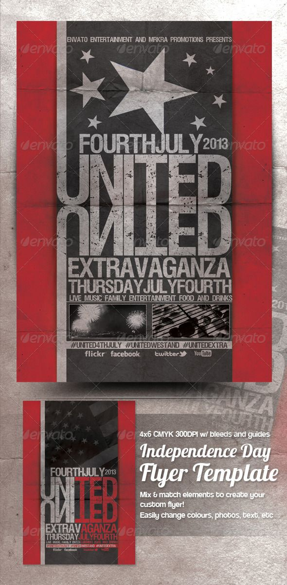 United 4th July \/ Independence Day Flyer Template Patriots - independence day flyer