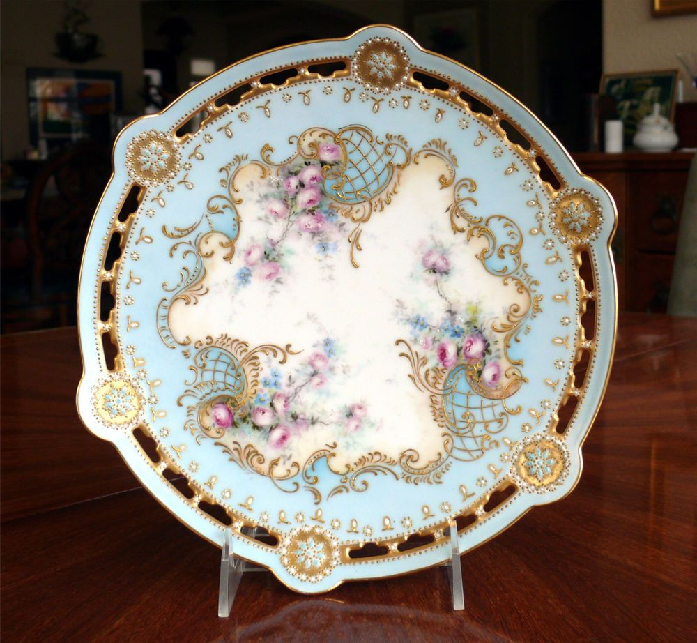 Fine Limoges Hand Painted Reticulated Rim Cabinet Plate Blue W Pink