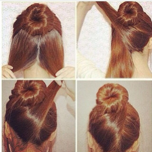 Easy Hair Style! This is a really simple but pretty twist to a regular donught bun in 2019 ...
