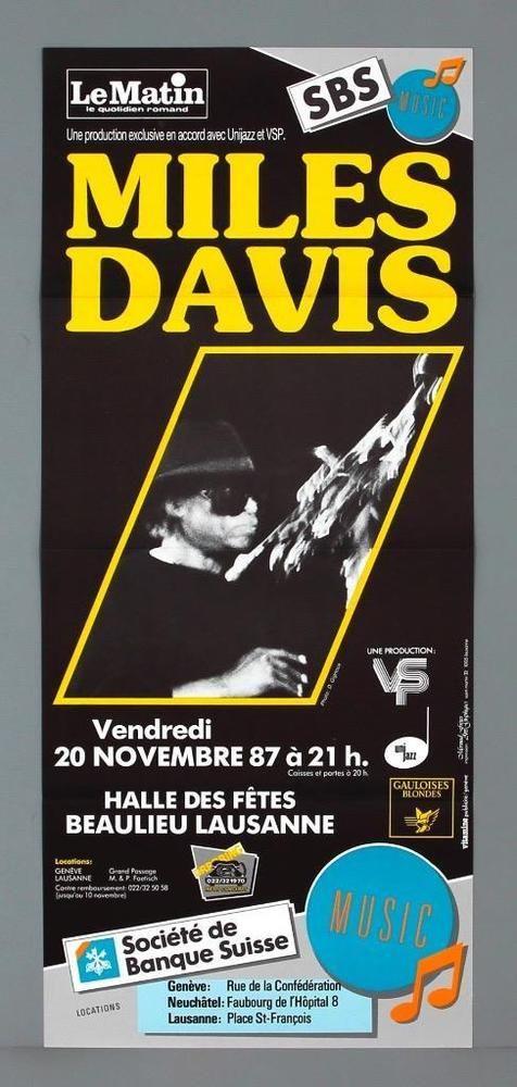 MILES DAVIS - mega rare vintage original Lausanne 1987 jazz concert poster