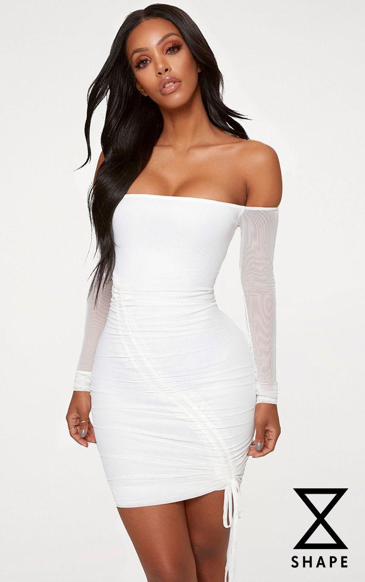 Shape White Ruched Mesh Bodycon Dress Bodycon Dress Mesh Bodycon Dress White Bodycon Dress [ 1180 x 740 Pixel ]