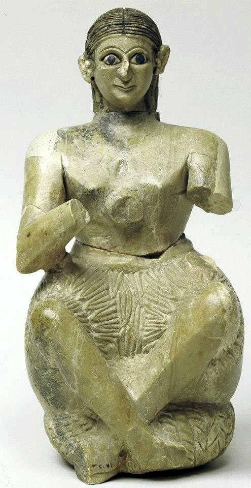 Seated statuette of Urnanshe, from the Ishtar temple at Mari (modern Tell Hariri). The seated statuette of Urnanshe is from the Temple of Ishtar at Mari (modern-day Tell Hariri), Syria.His eyes are inlaid with shell and lapis lazuli and are intense in their gaze.His arms, now broken off, are in front of his chest in a gesture of prayer.These statuettes dipicted the Sumerian people praising the gods.
