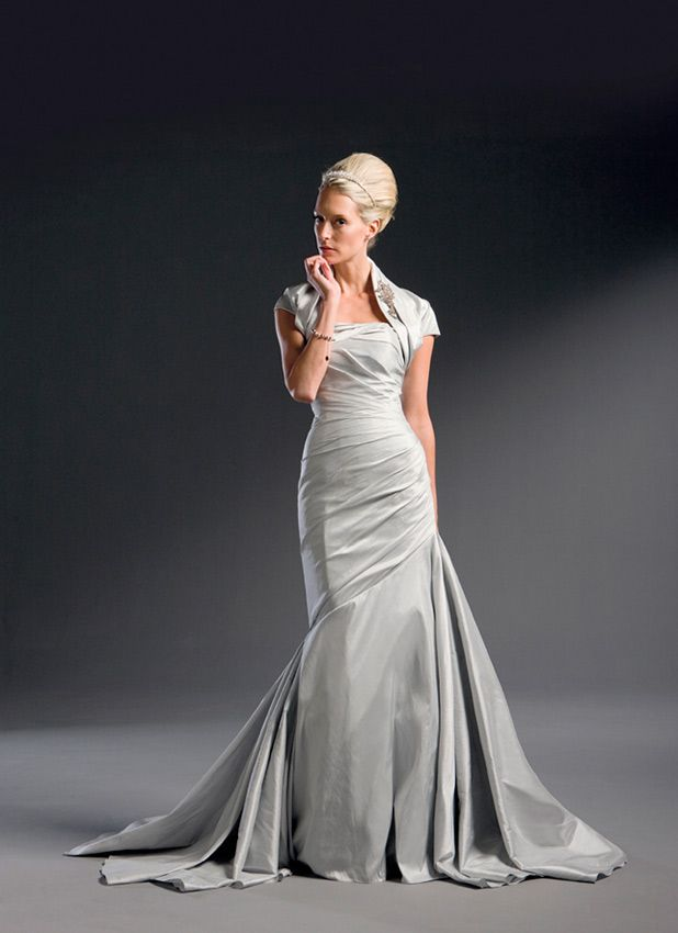 Justin Alexander Wedding Dresses Style 8435 A Silk Dupioni Strapless Mermaid Gown With Draped Bodice And Chapel Train Shrug Accompanies This Dress