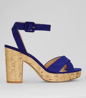 Blue Suedette Cross Strap Cork Sole Heels