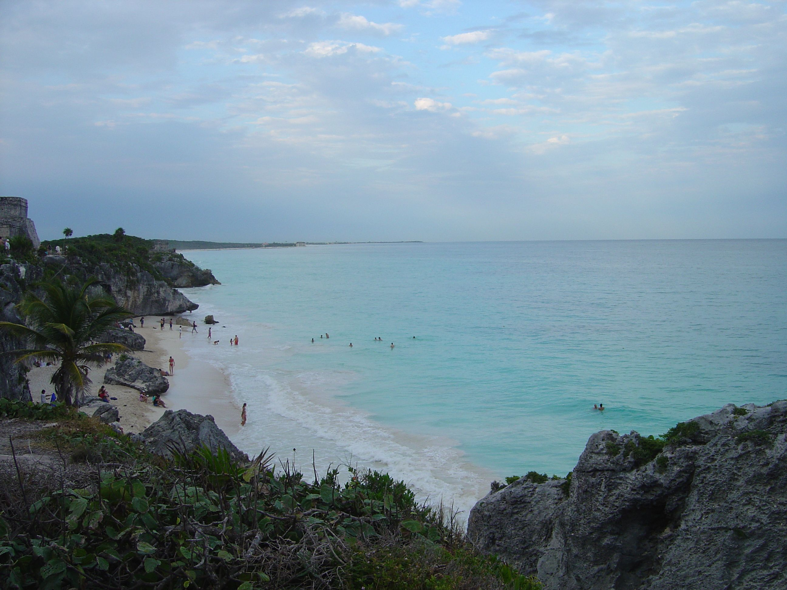 View of the Caribbean from the cliffs at the ruins of Tulum, just south of Cancun Mexico