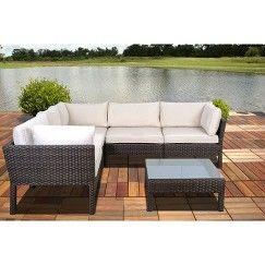 Atlantic Furniture South Beach 6 Piece Wicker Patio Sectional