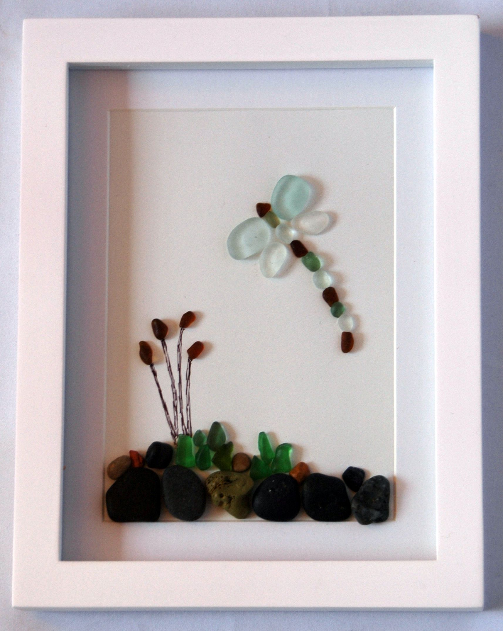 Seaham Sea Glass dragonfly by a river with Bullrushes. | Sea glass ...