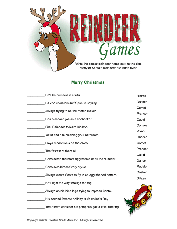 reindeer games for next year december classroom christmas games christmas party games. Black Bedroom Furniture Sets. Home Design Ideas