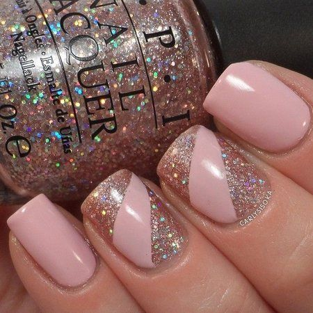 Image via Beautiful pink nail art designs. Image via Pink glitter and zebra  nails! Image via Pale Pink with small white heart - OMG I use to not care  for ... - Show Me Your Nail Polish! Thread 7* - Page 4 Nail Stuff, Nail