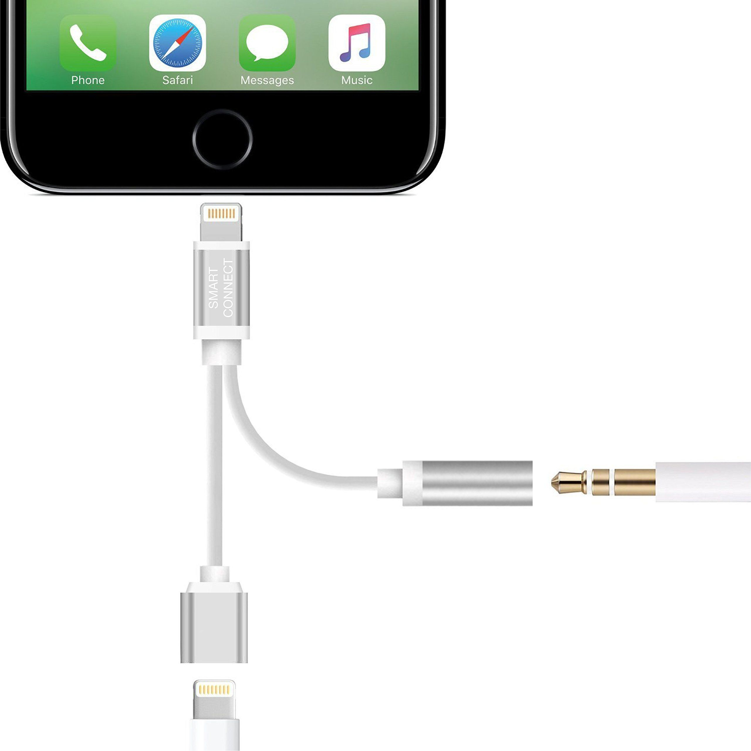 Smart Connect 2 In 1 Lightning Cable To 3 5mm Headphone Jack And Charging Adapter Iphone 7 Splitter Iphone 7 Headphone Iphone