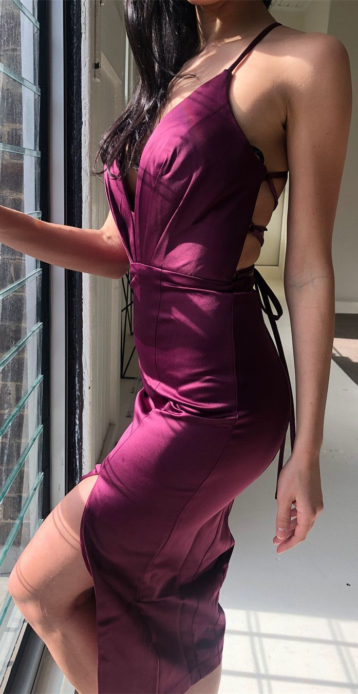 Latex wedding dress  Sexy Short Plum Bridesmaid Dress with Lace Up Back in   Prom
