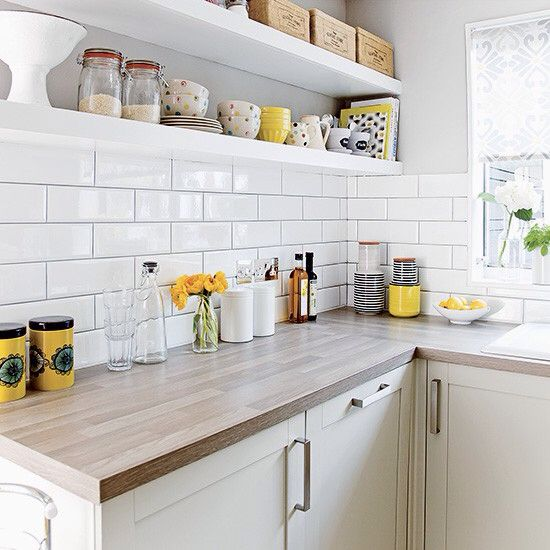 Open Shelves Subway Tiles Wood Worktop Small White Kitchens White Kitchen Decor White Kitchen Tiles