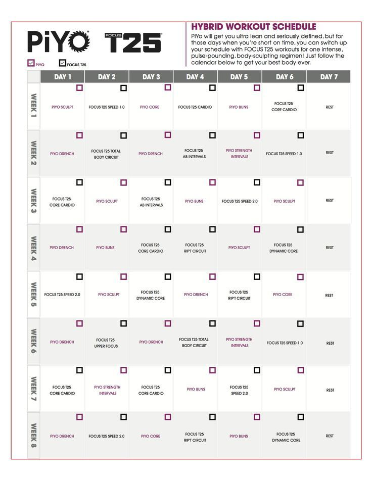 image about T25 Schedule Printable referred to as T25 Agenda Piyo Accredited T25 training, Exercise session program