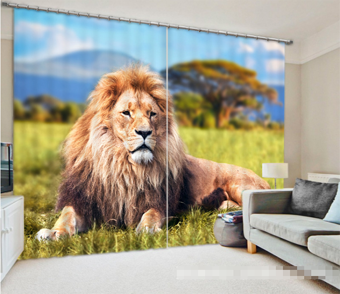 3D Grassland Lion 1243 Curtains Drapes AJ Wallpaper