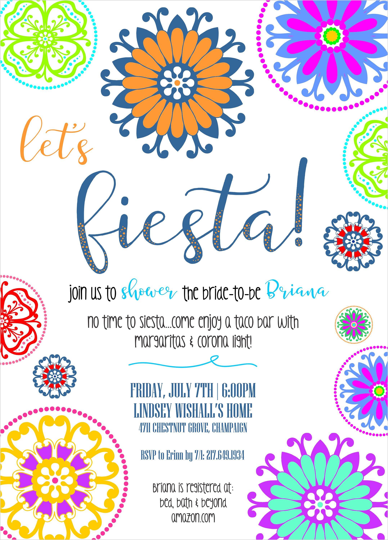 let s fiesta mexican themed bridal shower invitation dia de los