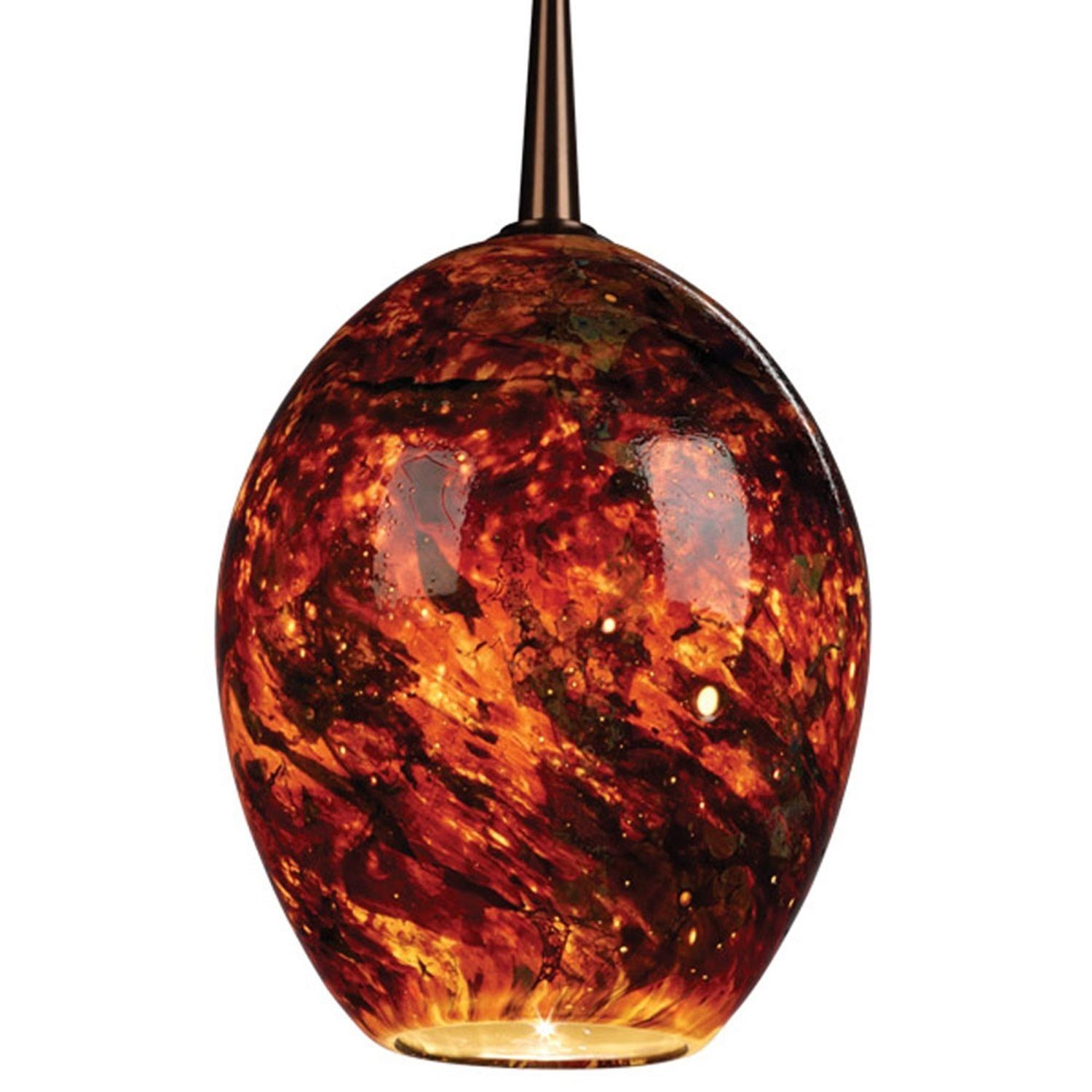 Bruck Lighting Bolero - Low Voltage 4-inch Kiss Canopy Bronze Pendant - Autumn Leaf Shade