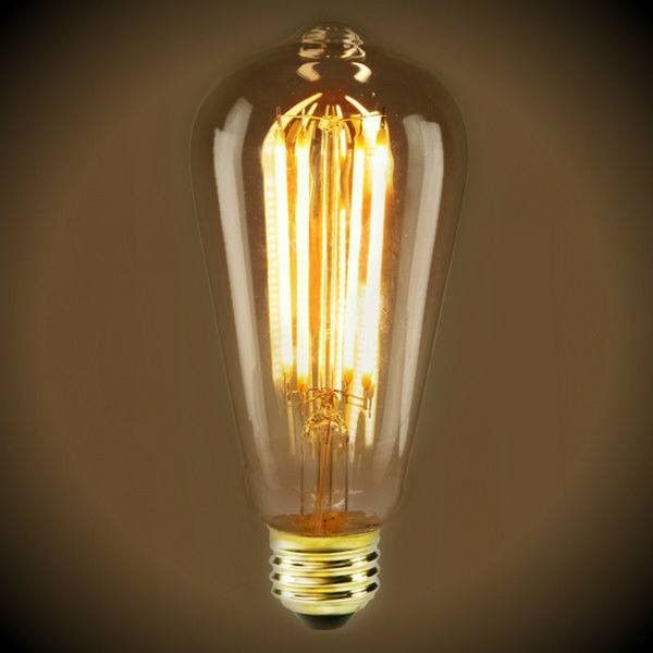 Led Filament Edison Light Bulb St19 Vintage 4 Watt Amber 2200k