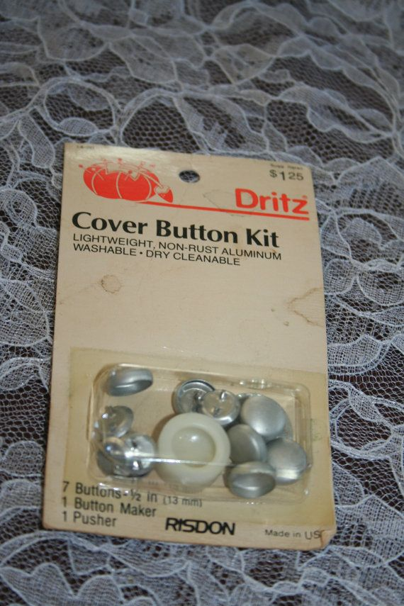Vintage Dritz Button Cover Kit To Make Fabric Covered Buttons 7 1 2in Size Buttons Includes Maker Which Sets In Covered Buttons Fabric Covered Button Vintage