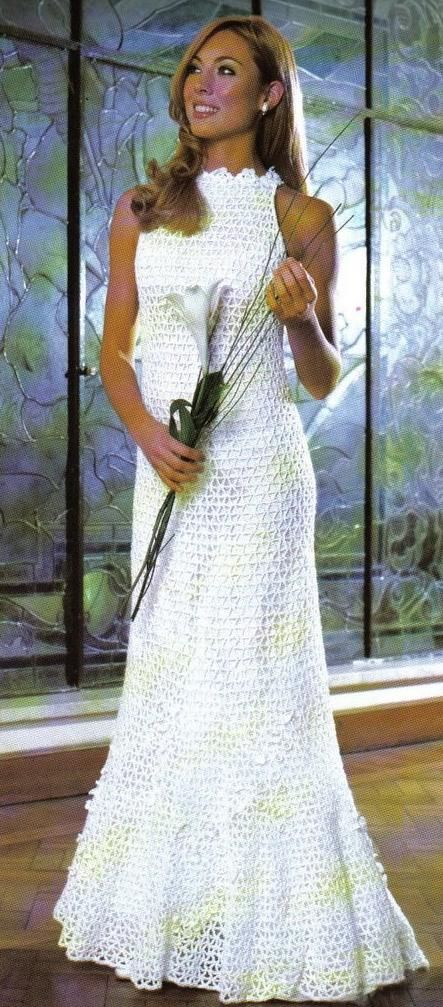 Crochet knit wedding gowns on pinterest crochet for Crochet wedding dress patterns