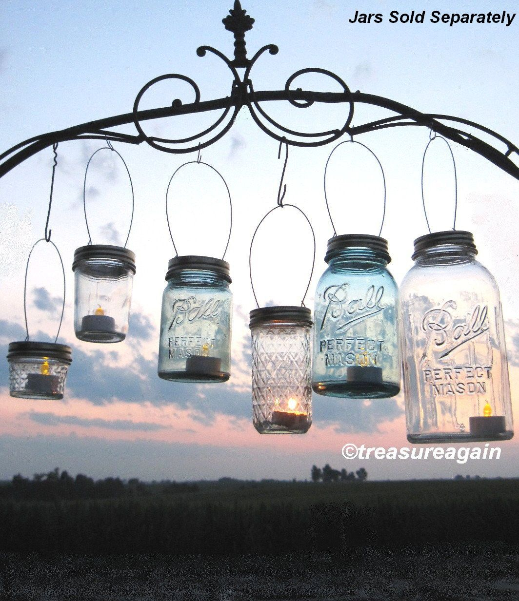 8 DIY Ball Jar Lanterns Lids Mason Jar Lanterns by treasureagain, $24.00