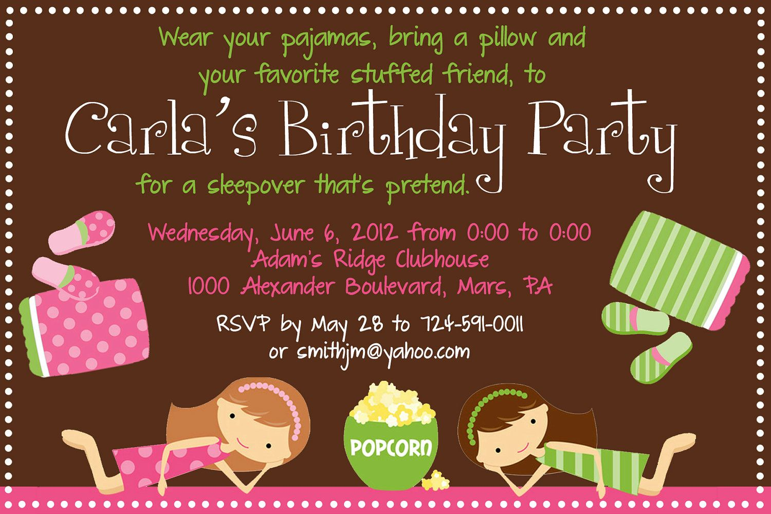 Sleepover Birthday Party Invitation Printable Birthday